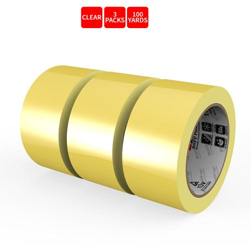 Natural Rubber Tape, 3 Rolls of Commercial Grade [XLava Tape - GOLD CLEAR] Value Bundle for Cold Storage Packaging Industry [2.0 Inches x 100 Yards]