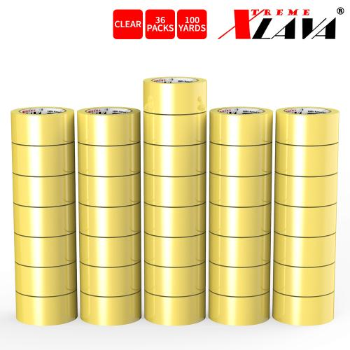 Natural Rubber Tape, 36 Rolls of Commercial Grade [XLava Tape - GOLD CLEAR] Value Bundle for Cold Storage Packaging Industry [2.0 Inches x 100 Yards]