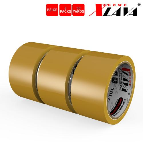 Natural Rubber Tape, 3 Rolls of Commercial Grade [XLava Tape - BEIGE] Value Bundle for Cold Storage Packaging Industry [2.0 Inches x 50 Yards]