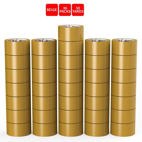 Natural Rubber Tape, 36 Rolls of Commercial Grade [XLava Tape - BEIGE] Value Bundle for Cold Storage Packaging Industry [2.0 Inches x 50 Yards]